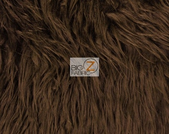 "Solid Mongolian Faux Fur Fabric - BROWN - Sold By The Yard 60"" Width Costumes Accessories Clothing"
