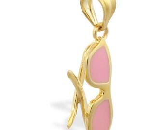14K Yellow Gold Enameled Sunglasses Pendant