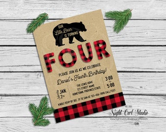 Lumberjack Birthday Invitation, Buffalo Plaid, Wilderness, Rustic, Flannel, Printable Invite
