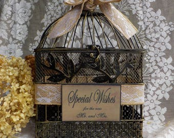 Rustic Shower Card Holder Bird Cage,  Wedding Well Wishes, Rustic Birdcage, Shower Supplies, Birdcage Card Box, Bridal Shower Cards