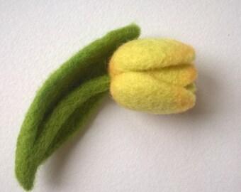 Needle felted yellow tulip brooch