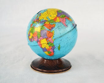Vintage Ohio Art Tin Globe Bank | World Bank | Metal Toy Bank | Made in U.S.A.