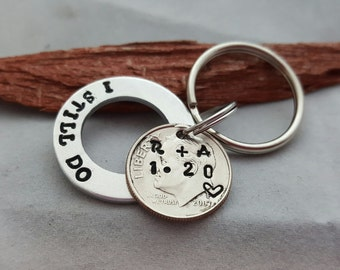 I still do keychain, personalized 10th anniversary, 10 year anniversary gift for men, husband gift, date, initials, traditional aluminum