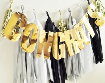 Personalized Foil Letter Garland - gold or silver