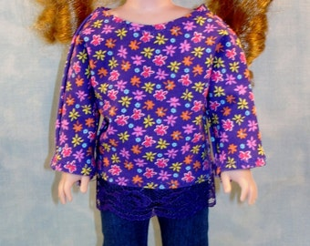 14 Inch Doll Clothes - Purple Floral Top and Denim Jeggings handmade by Jane Ellen