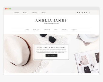 "Wordpress Theme - Wordpress Ecommerce Theme - Genesis Theme - Fashion Blogger Theme - ""Amelia"" Instant Digital Download"