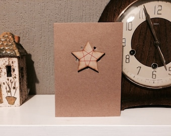 Pack of 5 Rustic Wooden Star Christmas Cards