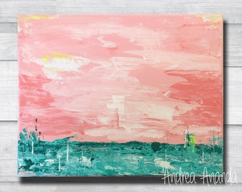 """Original Fine Art """"Stillness"""" Abstract Landscape Acrylic Painting Impressionist Wall Art Surreal 10 x 8 inches Small Canvas"""