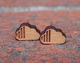 Wood Cloud Earrings | Wood Studs | Cherry Wood Earrings | Cloud Stud Earrings | Titanium Stud Earrings | Hypoallergenic Earrings | Clouds