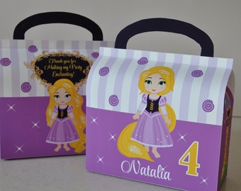 Tangled / Rapunzel inspired PERSONALIZED favor box for birthday party pdf DIY gable box template with Rapunzel