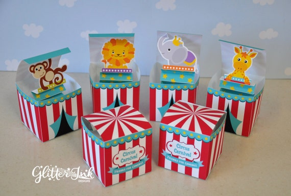 Carnival Toy Box Pink: Circus Carnival Jack In The Box Pop Up Favor Box Animal