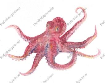 Octopus Watercolor Original Painting