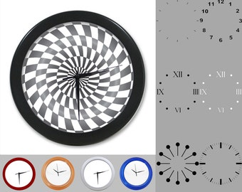 Gray Radial Wall Clock, Abstract Classic Design, Artistic Linear, Customizable Clock, Round Wall Clock, Your Choice Clock Face or Clock Dial