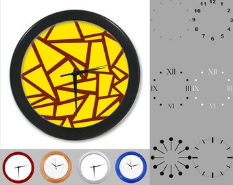 Yellow Geometric Shape Wall Clock, Angle Design, Graphic Lined, Customizable Clock, Round Wall Clock, Your Choice Clock Face or Clock Dial