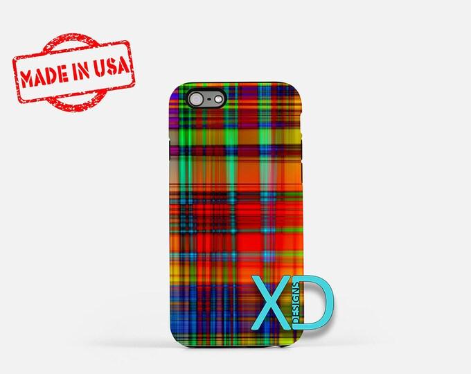 Rainbow Plaid iPhone Case, Plaid iPhone Case, Plaid iPhone 8 Case, iPhone 6s Case, iPhone 7 Case, Phone Case, iPhone X Case, SE Case
