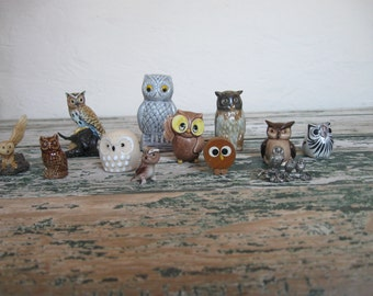 Vintage Small Owl Figurines// Tiny Creatures// Hoot