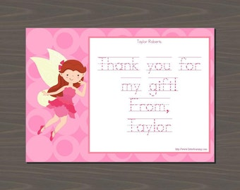 Fairy Thank You Notes, Fairy Thank You Cards, Fairy Stationery Set, Tinkerbell Thank You Notes | Digital or Print | Pink Fairy Thank Yous