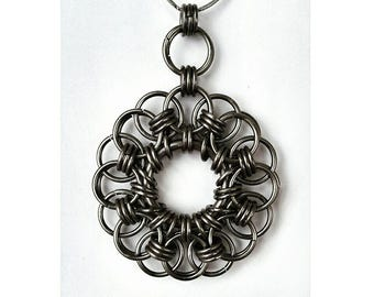 Handmade Chainmail Pendant - Dark Grey Floral