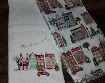 SAVE 30% Christmas Red Volkswagen Bug kitchen hand towels set pair Housewarming/Wedding/ Anniversary Gift