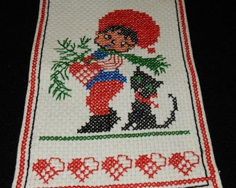 Swedish hand embroidered wall hanging for Christmas / santa and a cat
