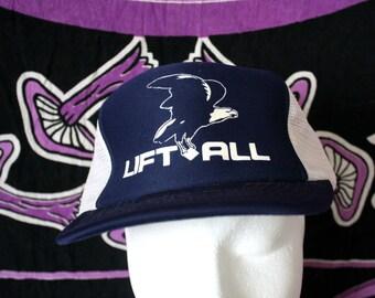 Lift All Postal Trucker Blue Baseball Cap With An Eagle On It. Blue 80s Retro Mesh Snapback Hat.  Vintage Baseball Cap.  Blue Lift All Hat