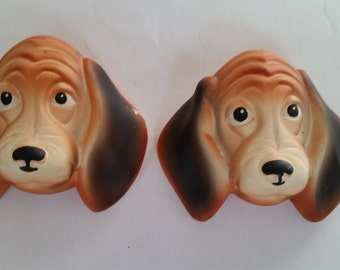 "Vintage Chalk Ware Dog Plaques 1960's Pair of Plaster Beagle Dog Figurines Miller Studio Inc. Decorative Statues Whimsical Dogs  3"" x 5"""