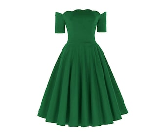 GREEN Off The Shoulder Dress//Rockabilly Pinup Short Sleeve Dress//Cocktail Party Bridesmaid Dress//3 Colors, Sizes S-XL