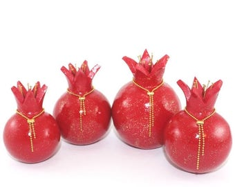 SPRING SALE Red pomegranates home decor, Rosh hashanah gift, table decoration, prosperity symbol, 4 Polymer clay Pomegranates in red and shi