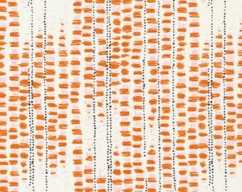 Tapestried in Orange by Sarah Watson Bird's Eye View Cloud 9 Fabrics OE 100 Certified Organic Cotton Orange Abstract Orange Modern