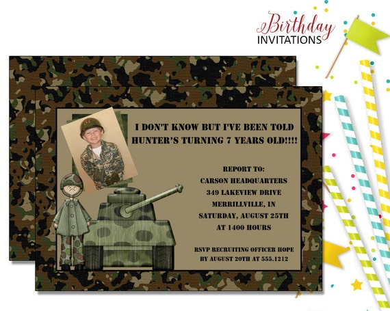Army Tank Camo Invitation Kids Birthday Printable