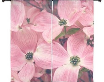 Sheer Curtains - Pink Dogwood Blossoms, Blooms, Springtime, Home Decor, nature photography by RDelean Designs