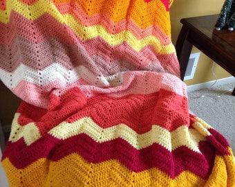 Chevron pink crochet afgan