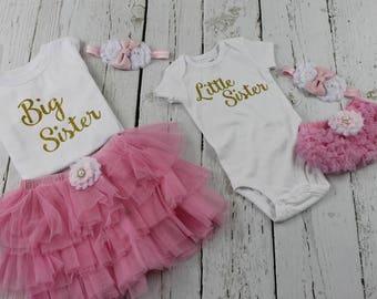 Big Sister Little Sister Matching Outfit  Big Sister Annoucement Shirt Outfit Shirt Tutu skirt Headband Little Sister Ruffle Bloomers