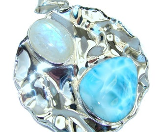 Larimar, Moonstone Sterling Silver Pendant - weight 23.70g - dim L - 2 3 8, W - 1 7 8, T - 3 8 inch - code 4-sie-16-51
