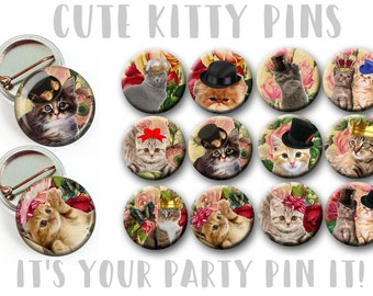 "Kitty Kitten Party 1"" inch pinback buttons Party favor Cat theme favors animal theme party Cat Magnets Cat PARTY Favors pin badges"