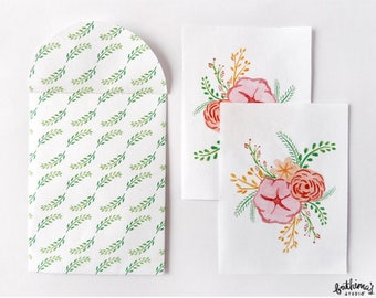 Mini Floral Cards and Envelopes Printable
