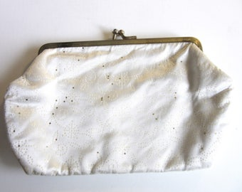 Small White Satin Cosmetic Make Up Bag Clutch Purse or Glasses Case
