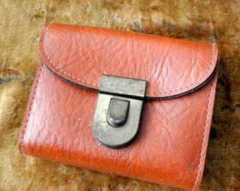 Vintage 1970s belt wallet pouch - brown vinyl with coin purse, card holder, bill fold