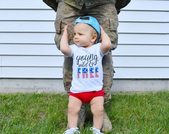 4th of July Baby Boy Outfit, fourth of july, Young Wild and Free, red white and blue, 4th of july baby, 4th of july shirt, independence day