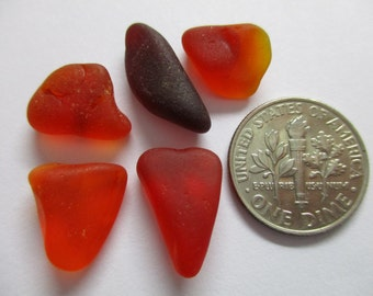 GENUINE SEA GLASS 5 Rare Red Amberina Natural Unenhanced Real Surf Tumbled Unaltered Undrilled Greek Beach Seaglass Jewelry Beads   U 545a