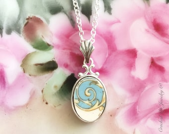Broken China Jewelry, Broken China Necklace, Turquoise Swirl China, Sterling Silver Pendant, Steubenville Pottery