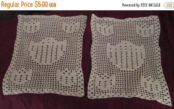 May Sale Newly Reduced Pricing - Set of 2 Cream Colored Crocheted Doilies Shield Pattern Shabby Chic Victorian