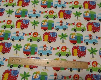 White with Multicolor Animals Riding in Cars/Trucks/Campers Flannel Fabric  by the Yard