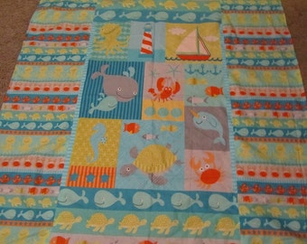 Blue/Orange Sea Creature/Whale/Fish/Octopus/Crab/Turtle/Lobster Cotton/Minky Baby/Toddler Blanket