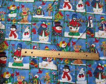1.5 Yards/54 Inches Blue Blocked Snowman/Birds Cotton Fabric