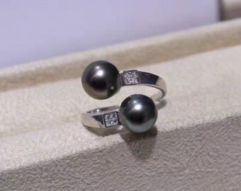 Double pearl ring- Sterling silver and double black pearl open ring- gift for her- June Birthstone