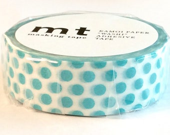 SALE Bold Polka Dot Japanese Designer Washi Tape in Teal and White 15mm x 10 meters