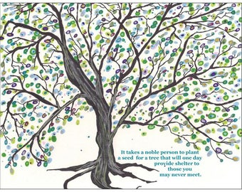 Set 2 cards/Uplifting Art/Noble Tree/Plant Seed/Tree Art/Acorn/Illustration/Inspirational/Pay it Forward/Give Back/Leave for next generation