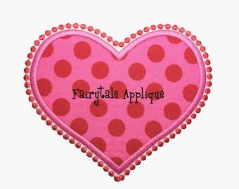 Digital Machine Embroidery Design -  Scalloped Heart Applique