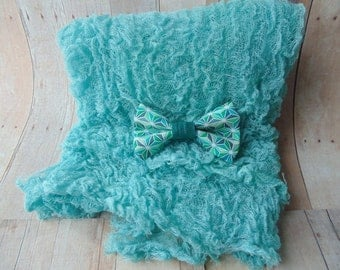 Dark Teal Cheesecloth ..  Bow Tie ..Baby Boy Cheesecloth and Bow tie ...   Newborn  Cheesecloth  Photography Wrap